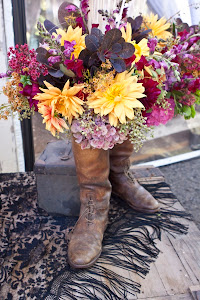 Vintage riding boots as floral vase!