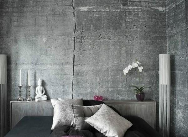 Tapet betong sovrum grå fototapet