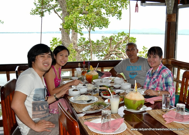 family lunch at Badjao Seafront restaurant