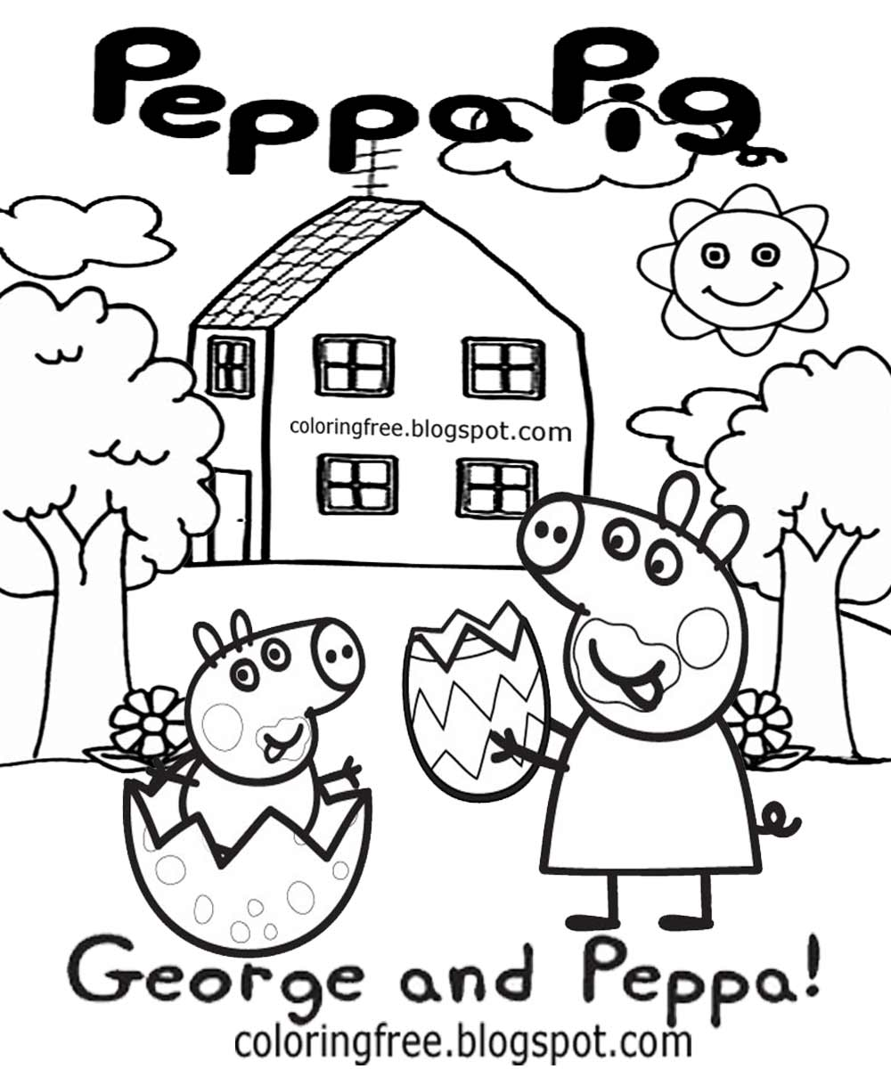 Cute Simple Drawing Ideas Cartoon Easter Egg Pictures George And Peppa Pig Coloring Pages For Kids