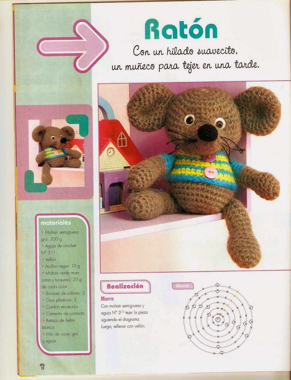 Muñeco ratón al crochet con instrucciones en español paso a paso moldes y patrones