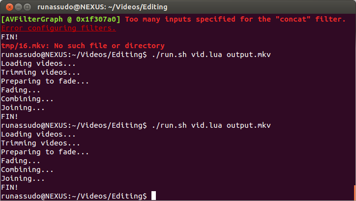 Non-linear video editing with FFmpeg