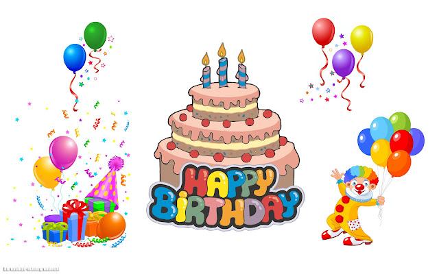 Witte verjaardags afbeelding met taart, ballonnen, clown, cadeautjes en de tekst happy birthday