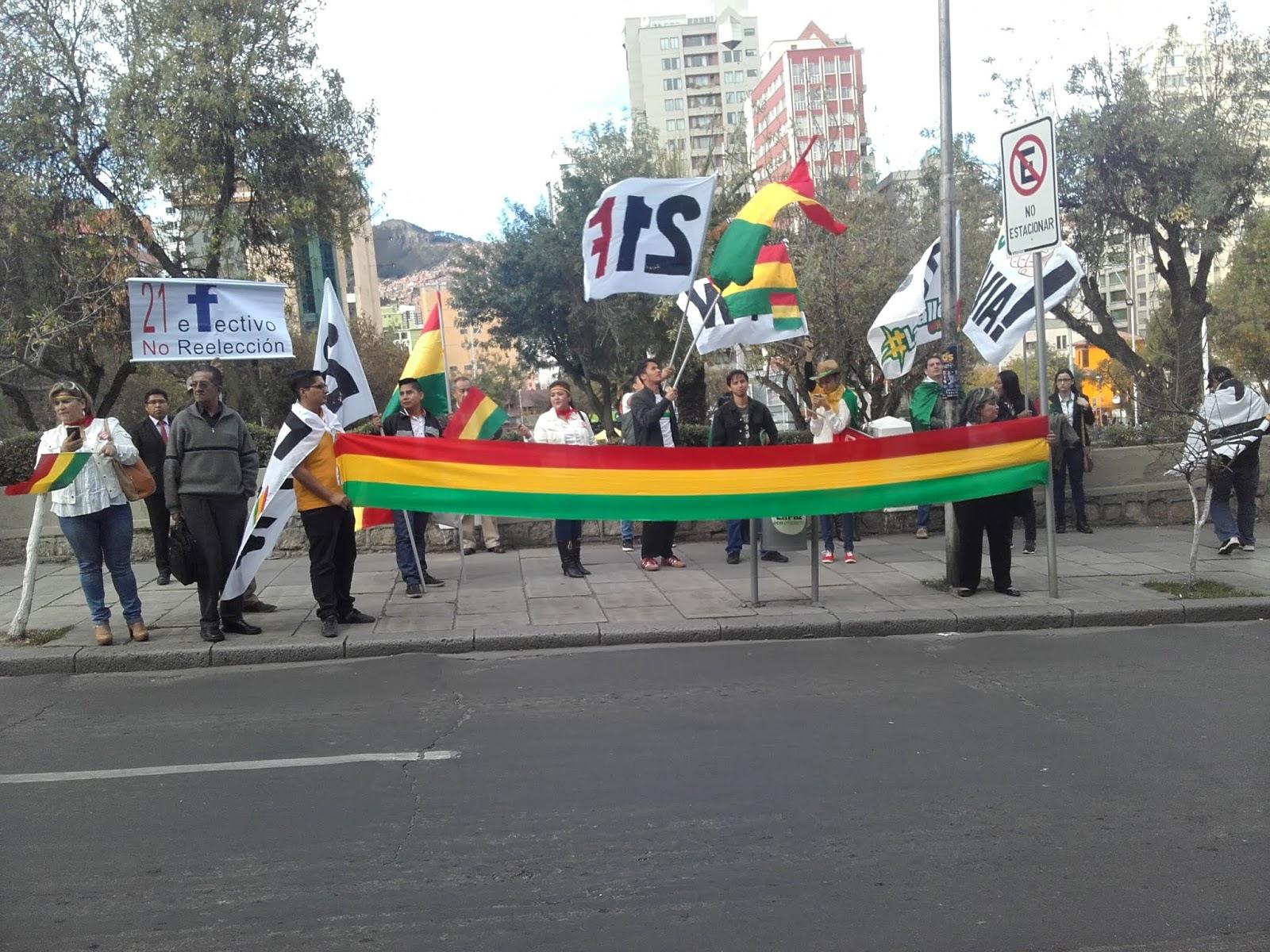 Uno de los plantones de activistas frente al TSE en La Paz / VISOR BOLIVIA