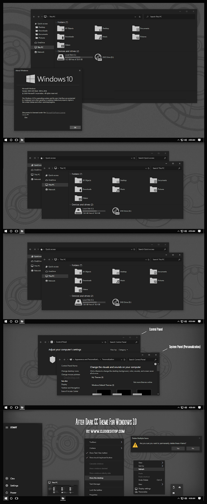After Dark CC Theme For All Windows 10