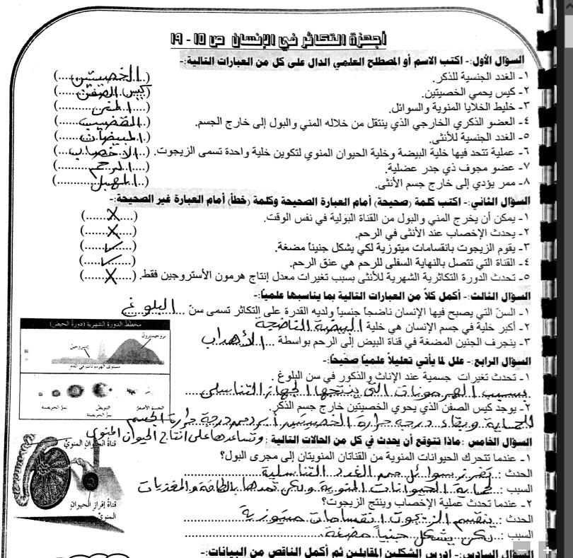مذكرة علوم فصل ثاني