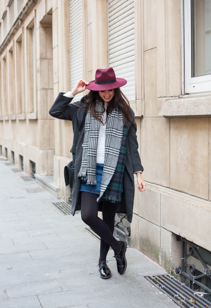 outfit: layering with wide brim hat, oversized scarf and long winter coat