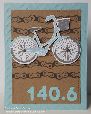 Handmade card for Ironman 140.6 triathlon distance using PTI Pedal Pusher, Modern Numbers, Technique Tuesday Borderline Industry adn