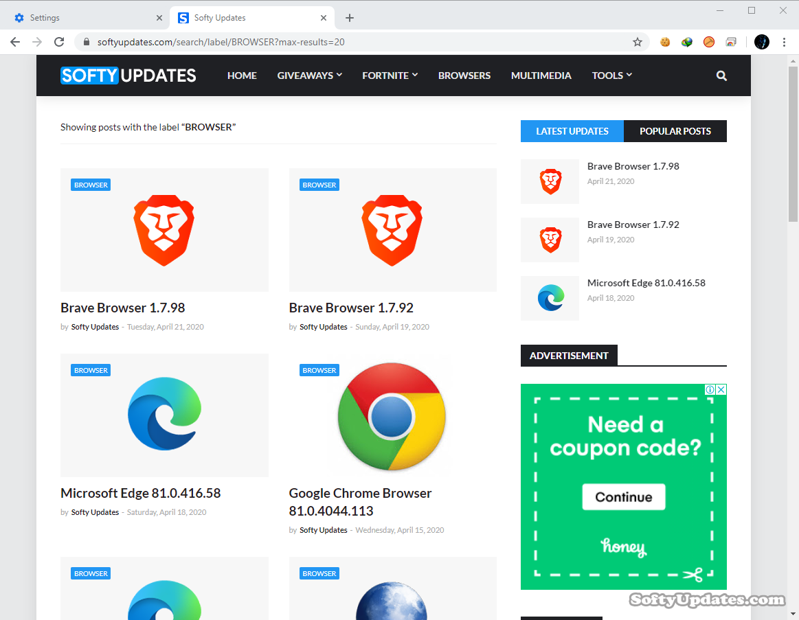 Google Chrome Browser 81.0.4044.129