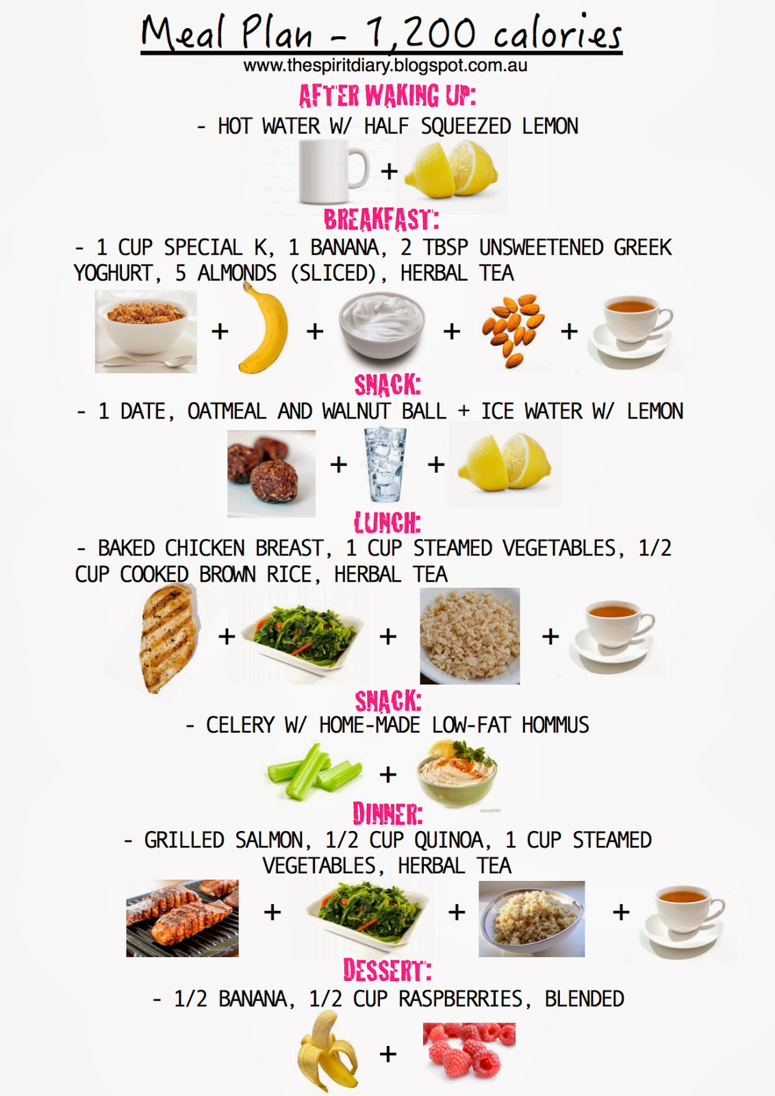 The Spirit Diary: Meal Plan: 1,200 calories (summer)