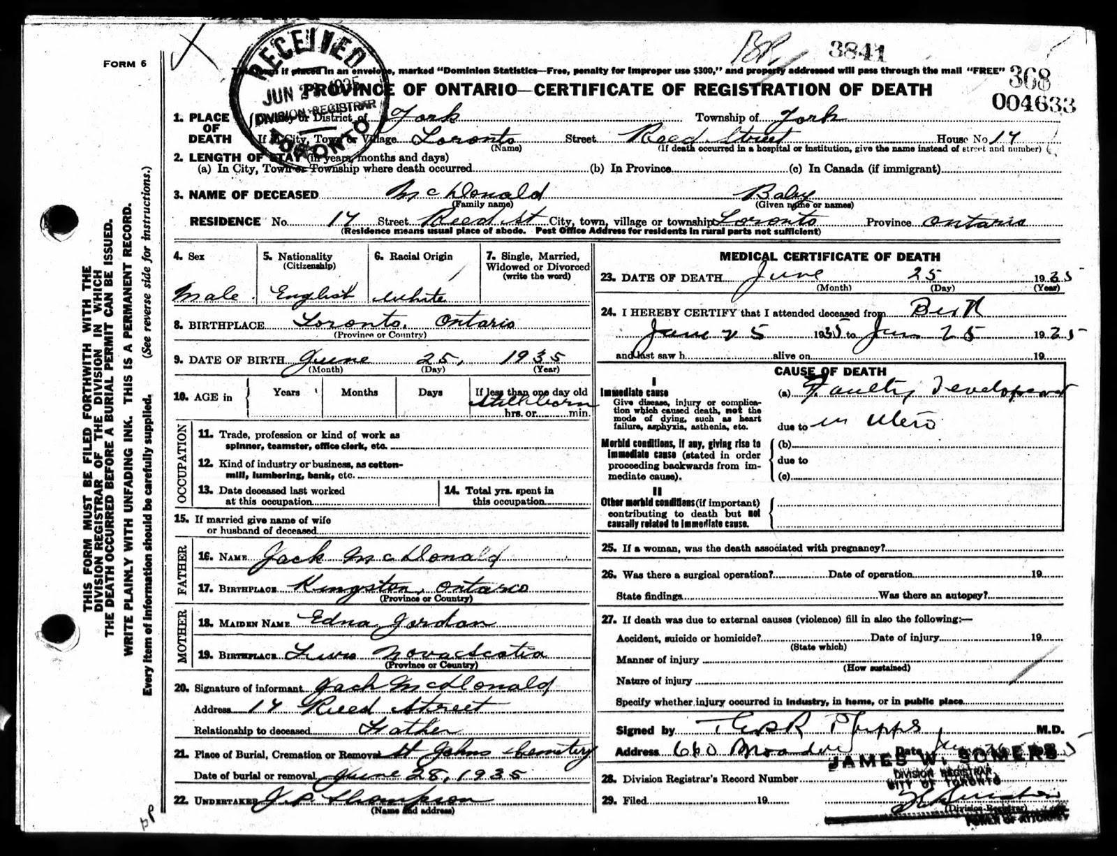 birth canada general ontario record registrar