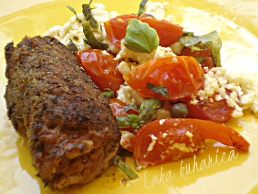Steaks with pesto, tomatoes and feta cheese by Laka kuharica: Mediterranean cooking at it's best.