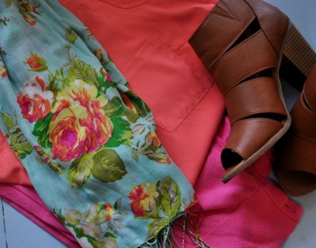 patterned scarf and bold colors