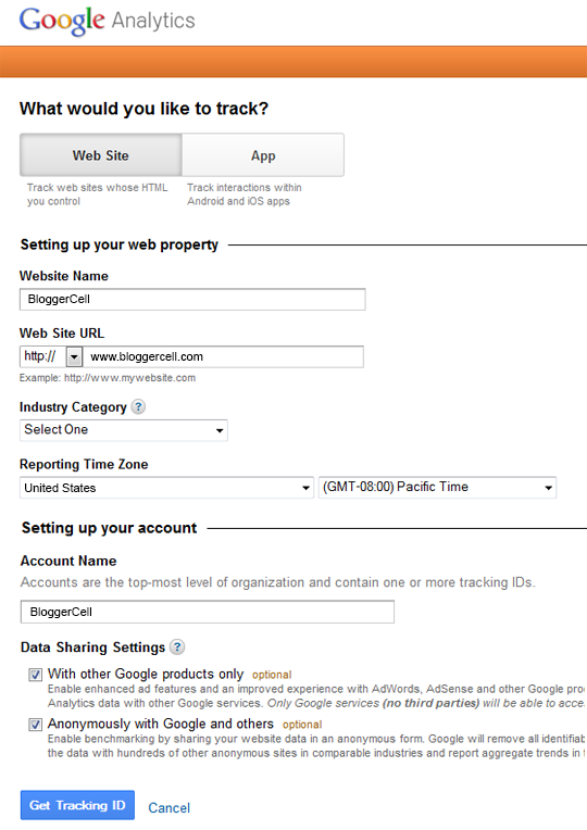 Google-Analytics-registration-page