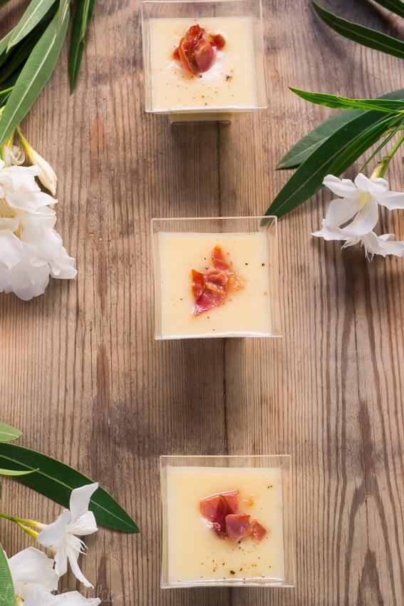 Crema de puerros y pera con crujiente de jamón #sinlacteos #singluten