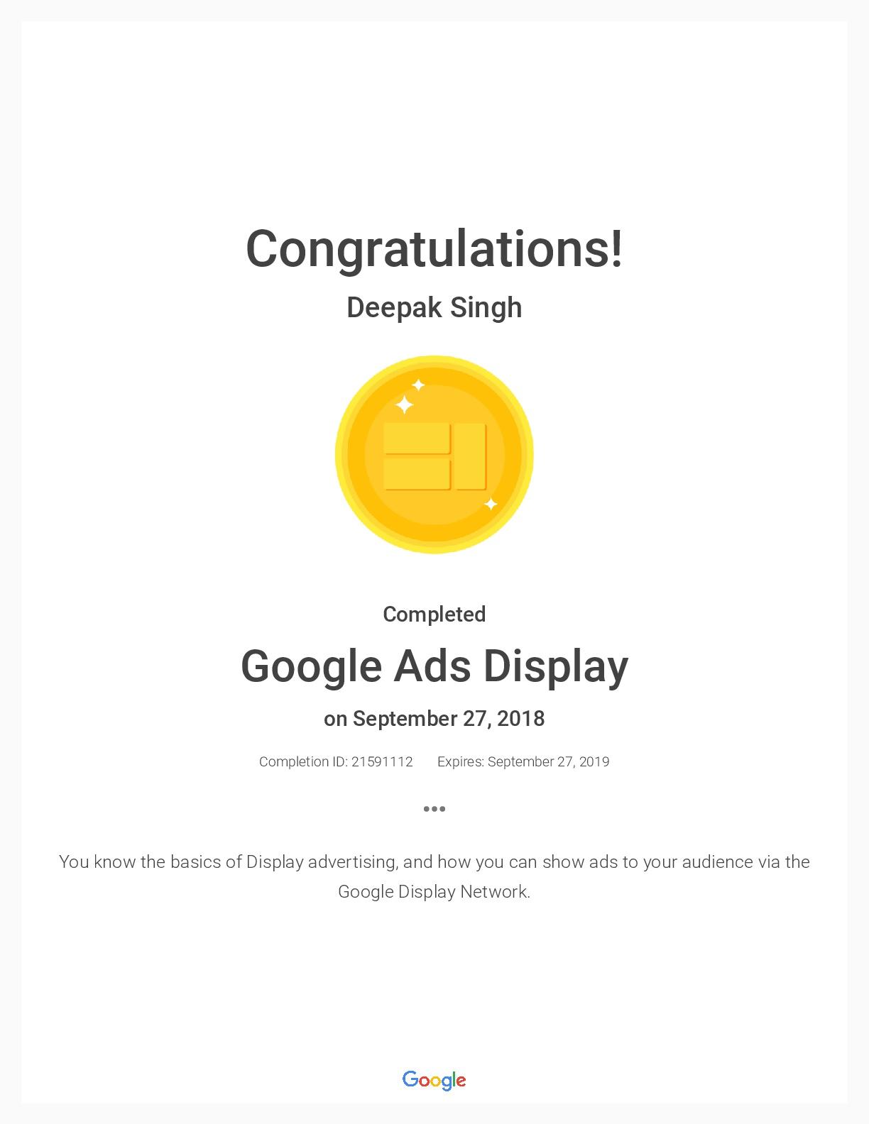 Deepak Singh Deepak Google Certificates