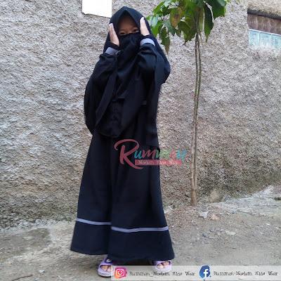 Baju Gamis Anak Syar'i Hitam Wolfis