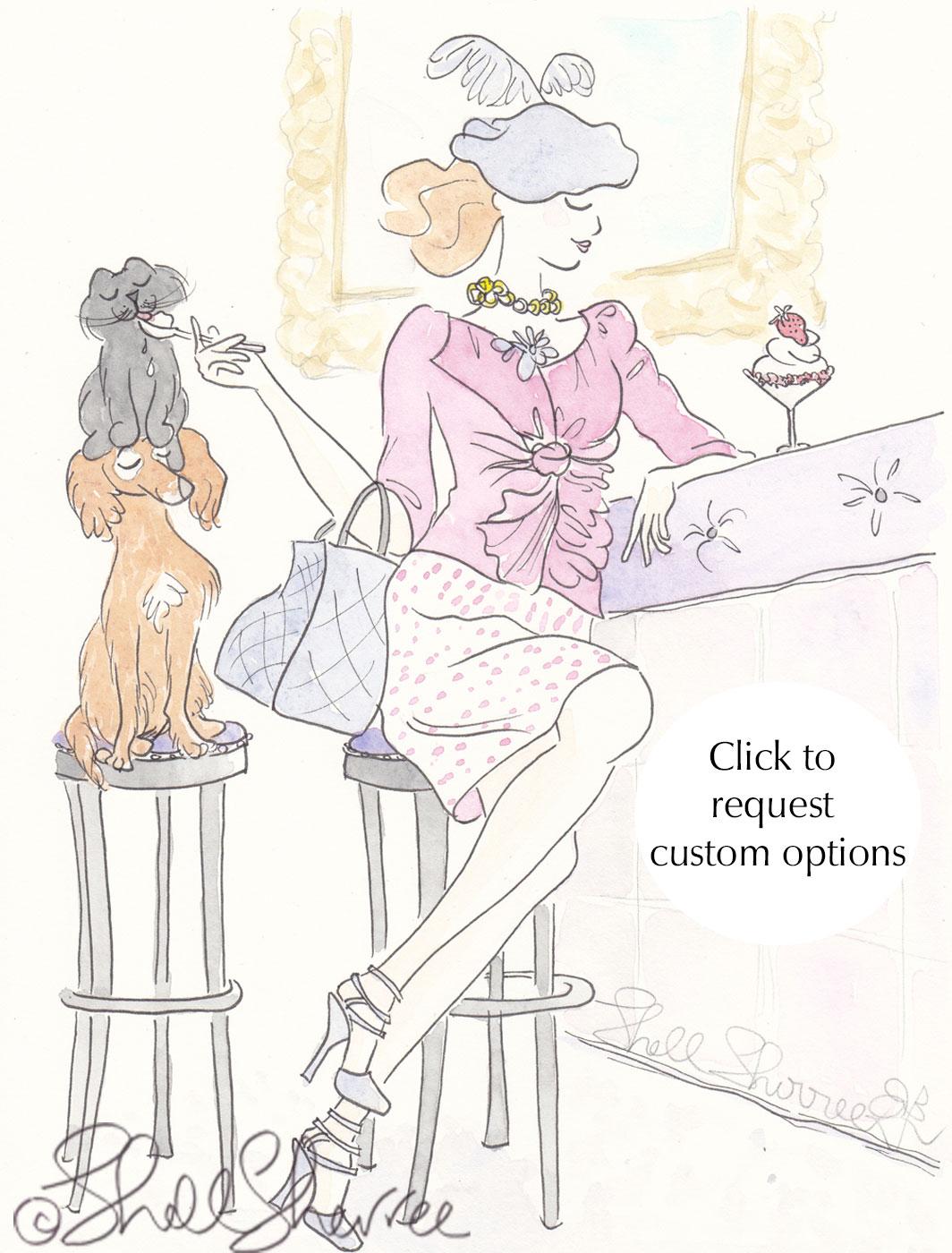 Strawberry Double Decker Sundae Fashion & Fluffballs illustration © Shell Sherree all rights reserved