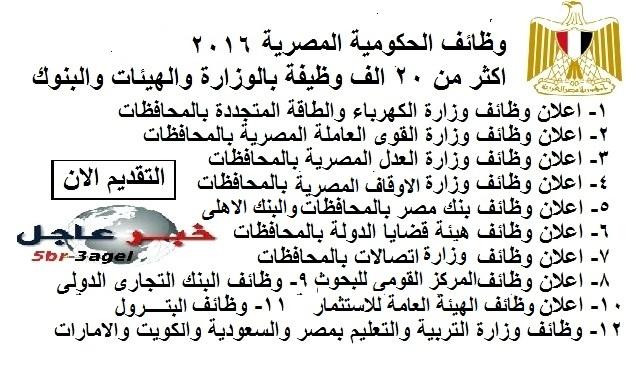 """وظائف الحكومة المصرية بالوزارات والهيئات والبنوك والشركات """" اكتر من 20 الف وظيفة """" بمصر وخارجها خلال شهر ديسمبر 2016"""