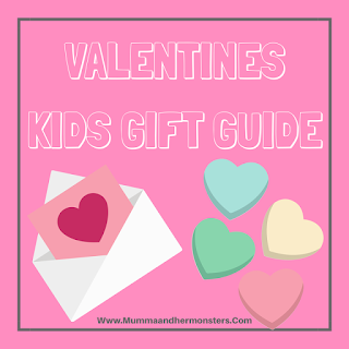 pink background with the words valentines kids gift guide, a valentines letter image and candy hearts image.