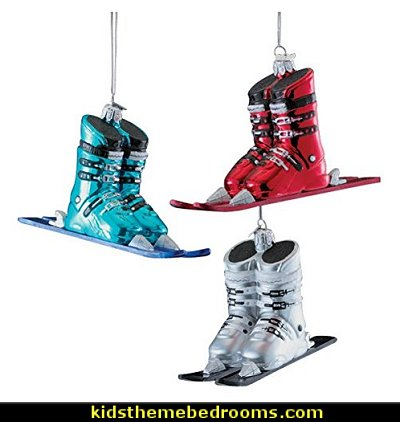 Ski Boots With Skis Glass Ornaments