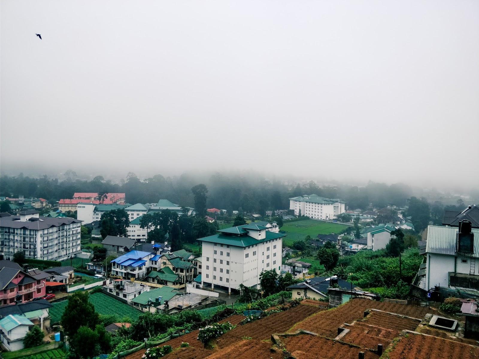 Foggy view from Villa de Roshe in Nuwara Eliya, Sri Lanka
