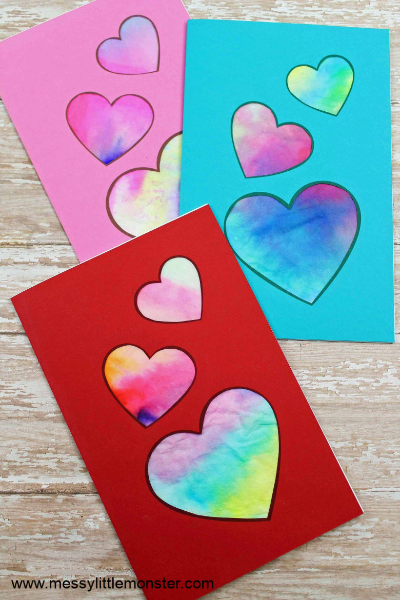 Heart craft for preschoolers. A fun Valentine heart card for kids.