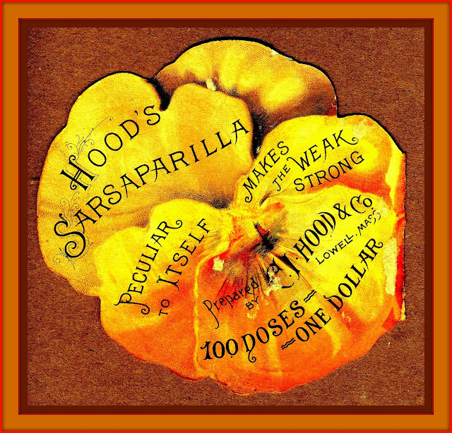 "Text on Pansy is ""Hood'sSarsaparilla, Peculiar to Itself, Makes the Weak Strong, Prepared by C.I. Hood & Co., Lowell MA, 100 Doses One Dollar"
