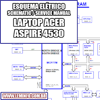 Esquema Elétrico Notebook Laptop Acer Aspire 4230 / 4530 Manual de Serviço  Service Manual schematic Diagram Notebook Acer Aspire 4530    Esquematico Notebook Acer Aspire 4230 / 4530