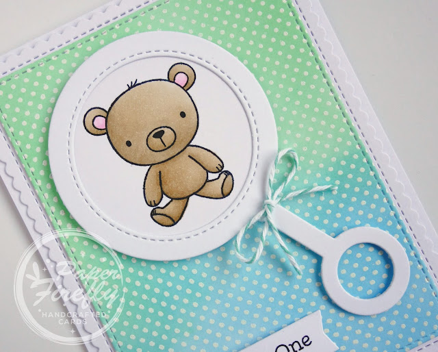Handmade baby boy card using baby rattle and Hello Little One stamp set from My Favorite Things