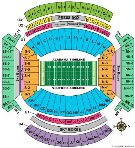 bryant denny seating chart - Bryant Denny Field Seating Chart Row & Seat Numbers TickPick