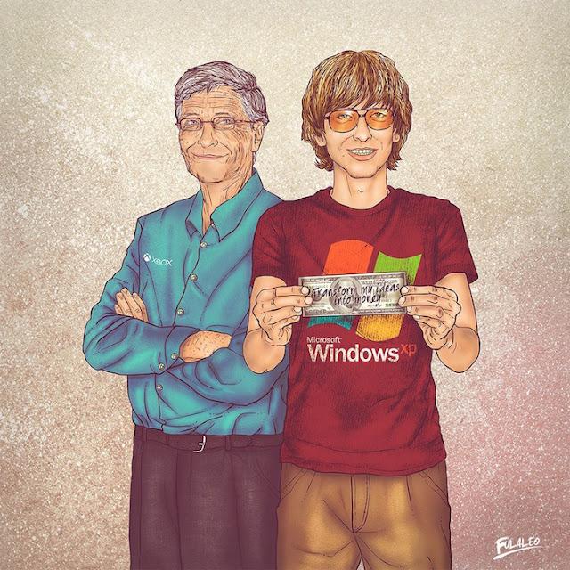 Bill Gates mais velho e quando jovem