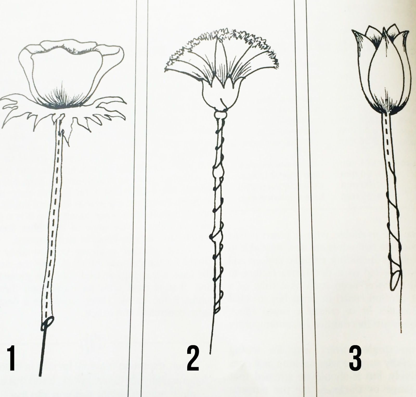 stitch method of wiring flowers