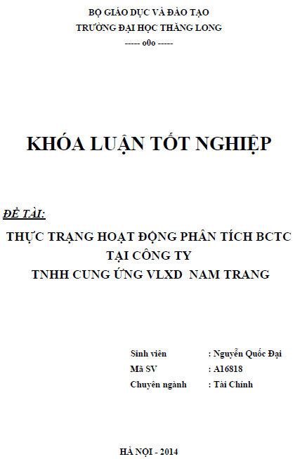 Thực trạng hoạt động phân tích báo cáo tài chính tại Công ty TNHH Cung ứng  Vật liệu Xây dựng Nam Trang