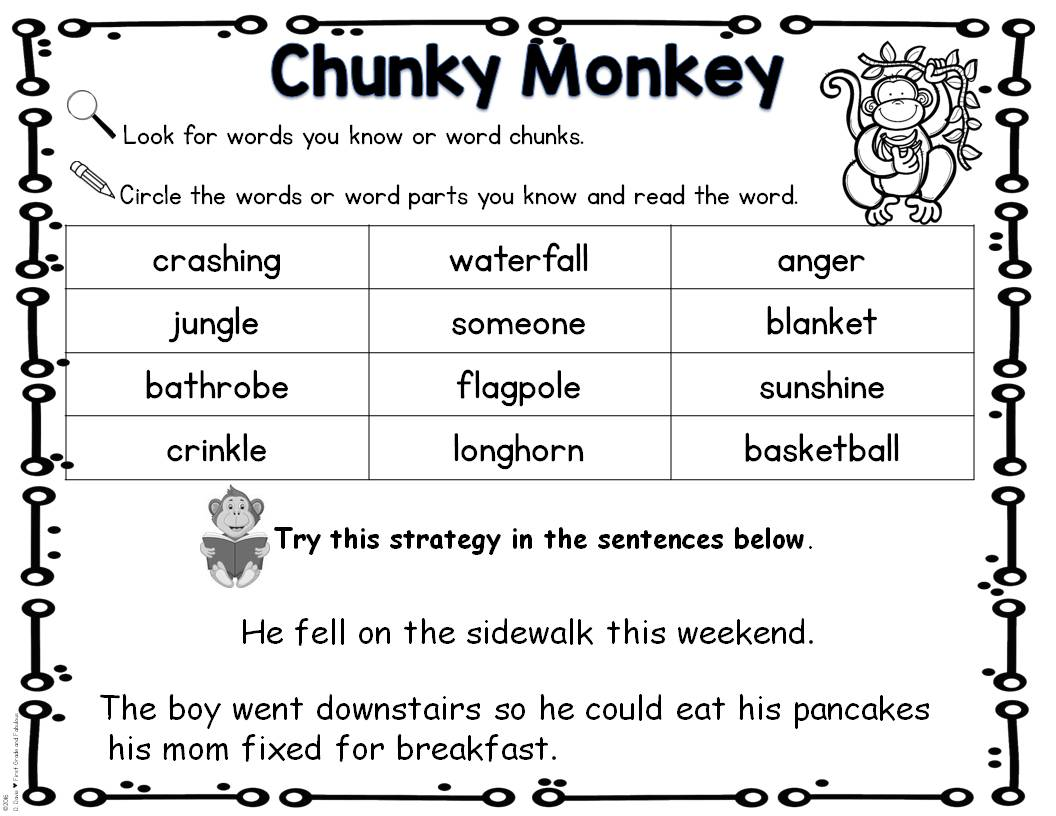 First Grade And Fabulous Guided Reading With Chunky Monkey