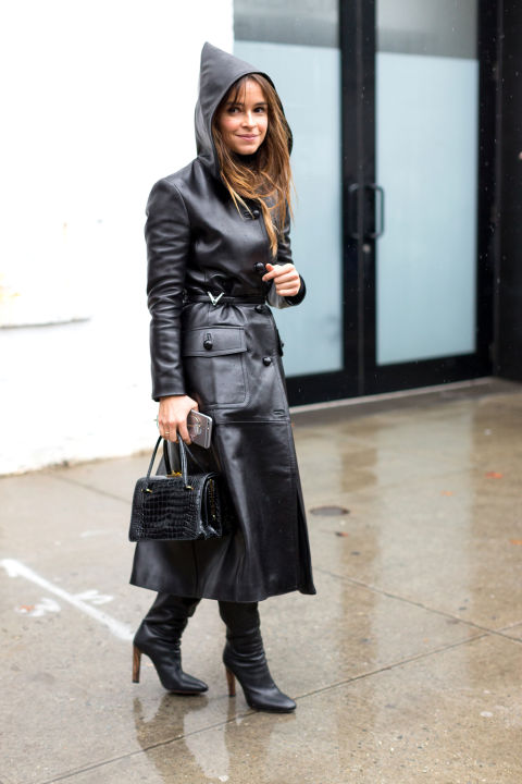 Leather jacket in the rain