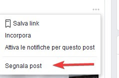 Segnala post Facebook