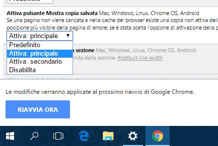 Chrome attivare pulsante per navigazione non in linea