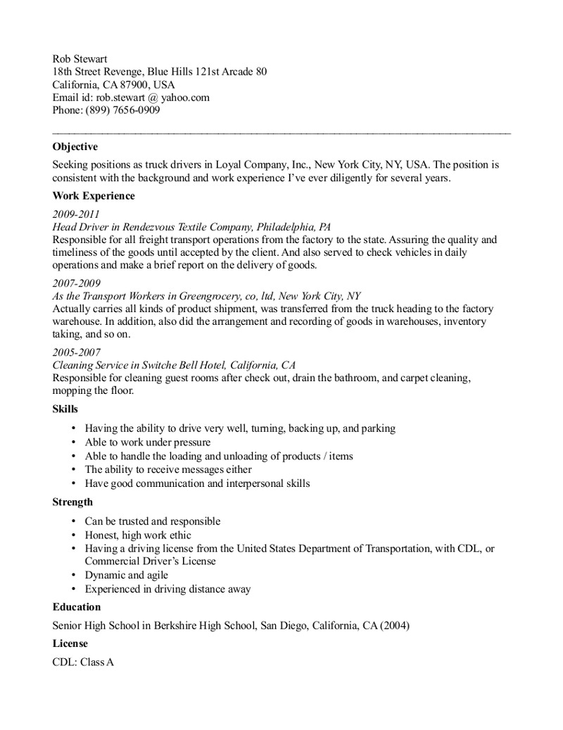 Sample driver resume: how to create resume