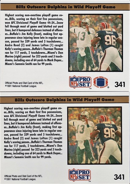 1991 Pro Set Jim Kelly - Buffalo Rolls On - card backs