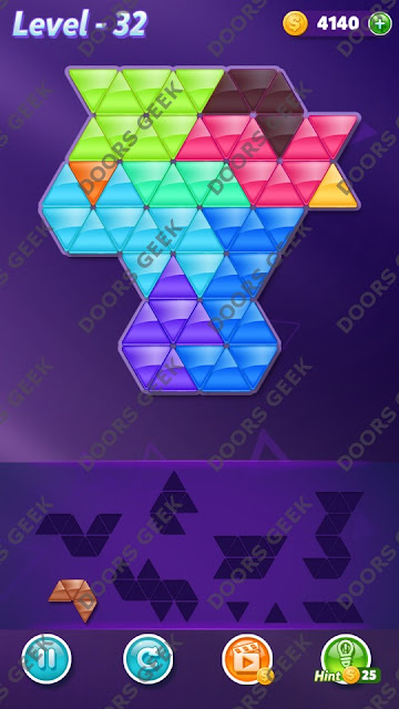 Block! Triangle Puzzle 9 Mania Level 32 Solution, Cheats, Walkthrough for Android, iPhone, iPad and iPod