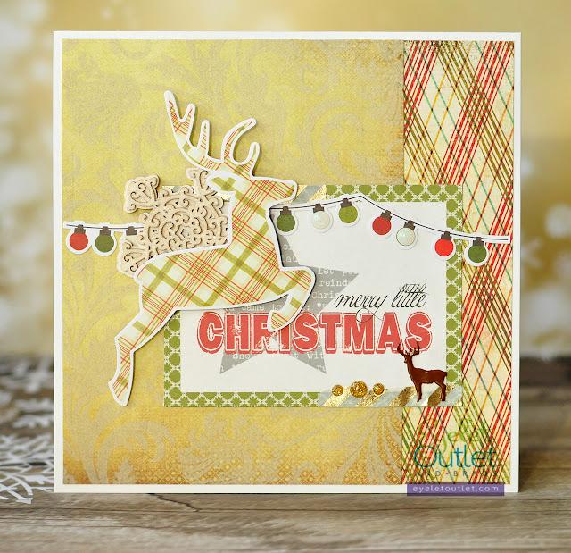 Merry little Christmas card | Eyelet Outlet DT @akonitt #card #by_marina_gridasova #kaisercraft #echopark #simplestories #scrapiniec #basicgrey #eyeletoutlet #enameldots #washitape