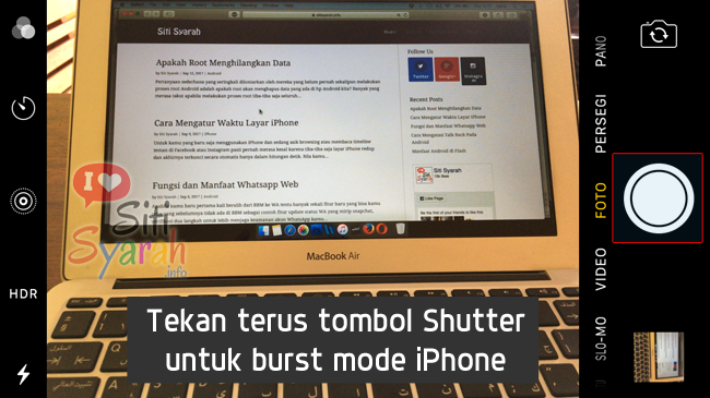 mengaktifkan burst mode di iPhone