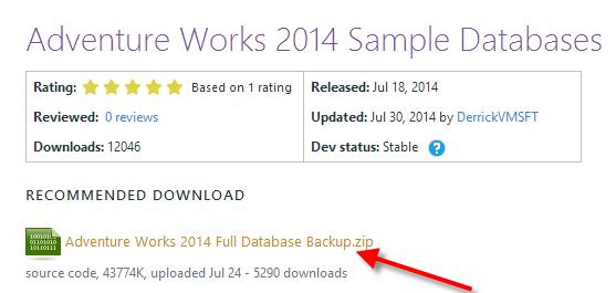 Adventure Works 2014 Sample Databases
