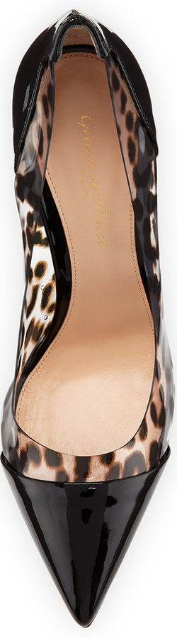 Gianvito Rossi Patent & Leopard-PVC Illusion Pump, Black