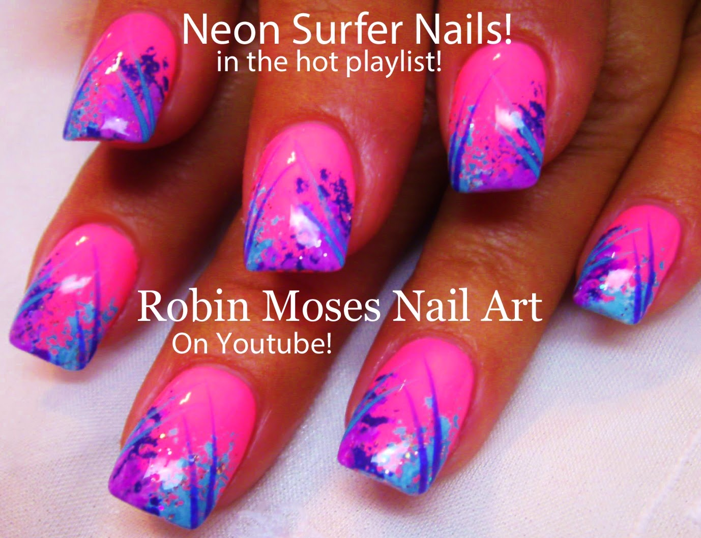 Nail art by robin moses april 2015 cute spring sponge technique tutorial for surfer waves nail art solutioingenieria Image collections
