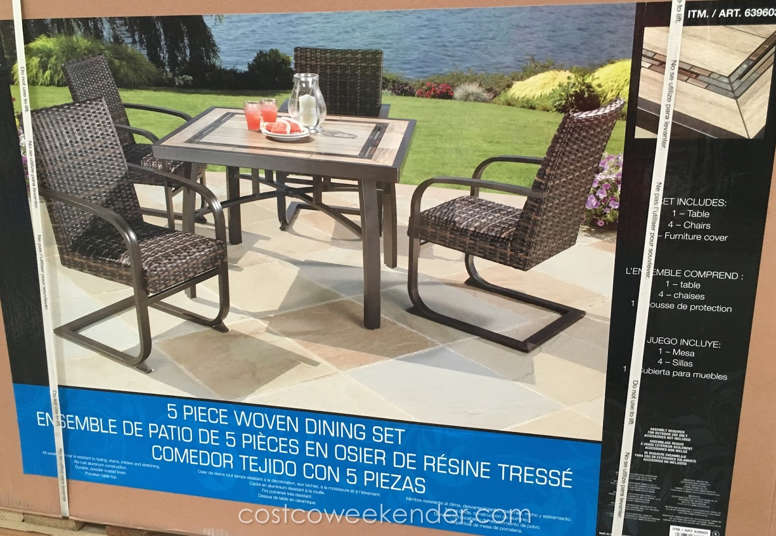 Agio International 5 Piece Woven Dining Set | Costco Weekender