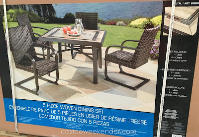 Agio International 5 Piece Woven Dining Set - great for entertaining and lounging around outside