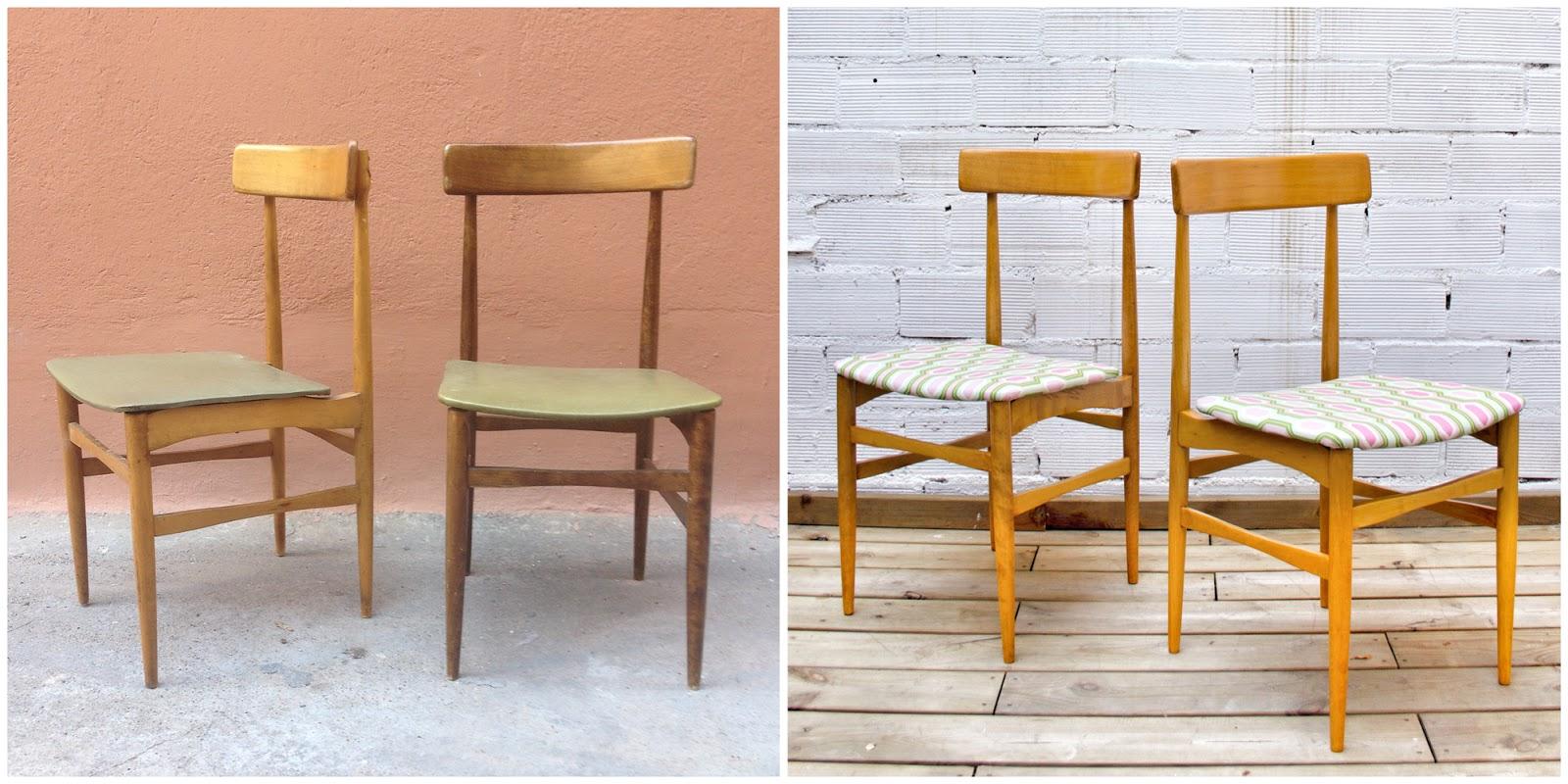 Antes y después - Sillas nórdicas restauradas y tapizadas - Studio Alis