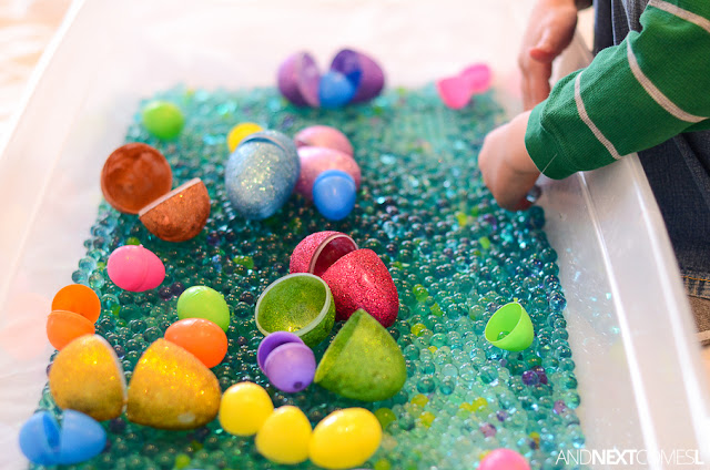 Scented water beads and plastic eggs in an Easter sensory box